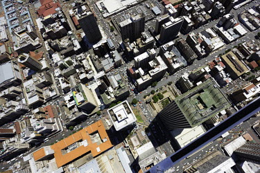 Aerial view of central Johannesburg - South Africa Aerial,Skyline,Landscape,City,City centre,Road,Highrise,Buildings,Block,Square,Shapes,Ordered,Patterned,Cars