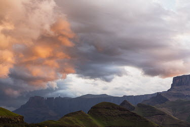 The Amphitheatre mountain range at sunrise - South Africa Mountain,Sunrise,Cloud,Colour,Morning