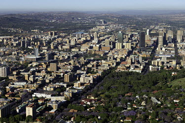 Aerial view of Johannesburg - Johannesburg, South Africa Aerial,Skyline,Landscape,City,City centre,Road,Highrise,Buildings,Block,Square,Shapes,Ordered,Patterned