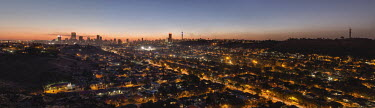 Johannesburg skyline at sunset - Johannesburg, South Africa Aerial,Sunset,City lights,Skyline,Colourful,Sky