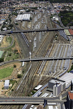 Aerial view of train links and roads - South Africa Aerial,Transport,Train,Railway,Bridge,Road,Connections,Modern,Travel