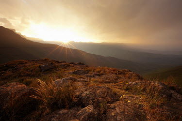 Sun set over the mountains of the Royal Natal National Park - South Africa colour,no people,sunset,Africa,African,Southern Africa,scenic,scenery,beauty in nature,natural world,non-urban scene,nature,outdoors,sunbeam,mountain,grassland