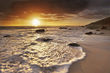 Sun set over the Atlantic ocean - South Africa Beauty in nature,Rocky shore,Stones,Pebbles,Coastal,Coast,Sea,Ocean,Sunset