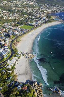 Aerial view of Camps Bay - Cape Town, South Africa Aerial,Coastal,Town,Beach,Sand,Mountain,Cliff,Settlement,Civilisation,Ocean,Sea,Bluesky