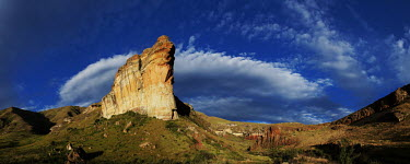 The Brandwag rock under a bright blue sky - Golden Gate Highlands National park, South Africa no people,Africa,African,Southern Africa,scenic,scenery,beauty in nature,natural world,non-urban scene,nature,outdoors,Rock formation,Landscape,Bluesky
